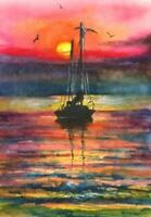 ACEO sail boat sunset glow sky sea abstract landscape original painting art card