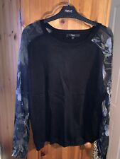 Ladies Next Black Crew Neck Jumper With Floral Sleeves - Size 20