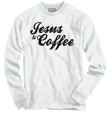 Jesus Christ Coffee Funny Religious Morning Long Sleeve Tshirt Tee for Women