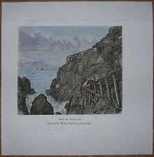 1879 Reclus print BOTALLACK TIN MINE, CORNWALL, ENGLAND (#36)