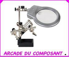 1 TROISIEME MAIN AVEC LOUPE LAMPE LED ET SUPPORT POUR FER (66-0717) Poids 900g