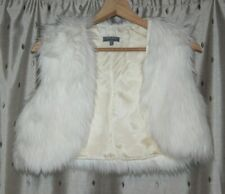 Per Una ~ White Faux Fur Shrug Top ~ Size S