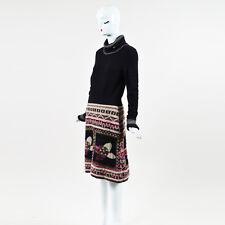 Chanel 09A Black Beige Pink Wool Blend Camellia Print LS Turtleneck Dress SZ 42
