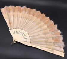 Gran Abanico Antiguo Hoja Seda Encaje - Antiguo Ventilador