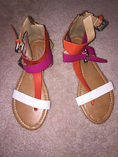 GOJANE GRAYSON 05 ORANGE MULTI GLADIATOR THONG SANDALS, FREE SHIPPING