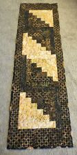 """Hand Made Quilted Table Runner/Topper~Fall~ 13"""" x 45""""~ Batik~Black,Brown"""
