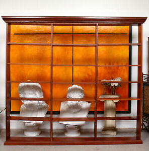 Large Open Bookcase Mahogany Bookshelves Antique Vintage