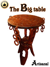 ARTISANAL TABLE Round Dining Handmade Coffee Tripod Wood folding legs Decor Desk