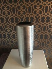 Shimmer Chrome Effect Silver Ceramic Textured Large Vase New H40cm
