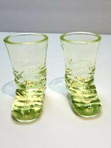 "Vintage Vaseline Glass Boots Shot Glass 2.5"" x 2.5"" Excellent"