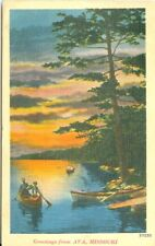 Ava MO Canoeing at Sunset, 1940 Greetings from Ava