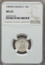 MEXICO ESTADOS UNIDOS 1909 10 CENTAVOS COIN CERTIFIED GEM UNCIRCULATED NGC MS-65