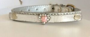 Silver  Collar  Chihuahua Tea Cup Diamanté Heart   Snakeskin Xsmall  New  Uk