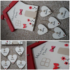 Personalised House Shaped Wooden Plaque with Hanging Hearts - Family Decoration