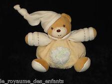 Doudou boule Ours avec bonnet écru marron beige jaune Kaloo pure feuille 14 cm
