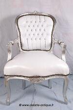 Fauteuil de style Louis XV simili blanc/bois argent