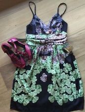 EUC Imaginary Voyage Silky Lined Empire Waist A-Line Dress Juniors Size XL