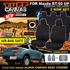BLACK TUFF CANVAS Mazda BT-50 UP Dual Cab Seat Covers 2Row XT XTR 11/2011-9/2015