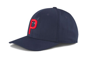 NEW Puma Racoon P110 Navy/Red Snapback Golf Hat/Cap