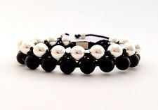 MENS BLACK ONYX STERLING SILVER 925 Beaded 2-Row Shamballa Wrap Jewelry Bracelet
