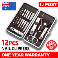 12PCS Manicure Pedicure Set Stainless Nail Clippers Kit Cuticle Grooming Case OZ