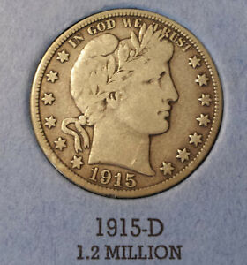 1915 D Barber Half Dollar free shipping after 1st item