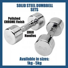 8KG Weight Set  -1 pair 4kg STEEL CHROME ROUND DUMBBELLS - Gym & Fitness Workout