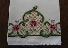 Vintage Linen Hand Towel Petit Point Embroidery Pink Red Flowers Green Lattice
