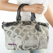 New Coach Madison Op Art Sophia Shoulder Bag Hand Bag 18650 Gray New RARE