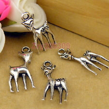18Pcs Tibetan Silver Deer Charms Pendants 10.5x23.5mm KA105