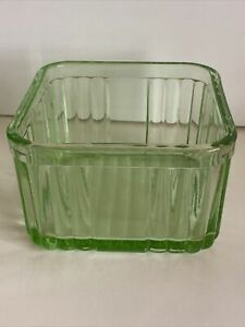 GREEN DEPRESSION GLASS SQUARE BUTTER DISH~CONTAINER NO LID
