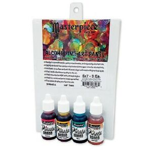 """Pinata Alcohol Inks Masterpiece Set. Double Sided 5"""" x 7"""" Art Panels & 4 Colors."""