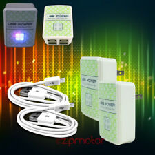 2X 4 USB PORT WALL ADAPTER+10FT CABLE CHARGER WHITE G2 OPTIMUS G PRO KINDLE FIRE