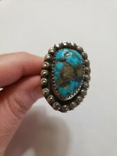 Vintage Navajo Sterling Silver Heavy Turquoise Ring