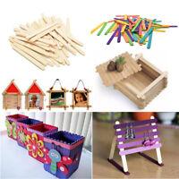 50X Large Wooden Lollipop Popsicle Sticks Kids Hand Crafts Ice Cream Lolly DIY~