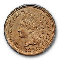 1863 1C Indian Head Cent PCGS MS 63 Uncirculated Copper Nickel Cert#7794