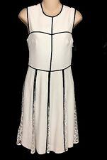 Ellie Saab Kleid Gardenie und schwarzer Spitze Falten Größe 36 NWT £ 2400 Größe 2