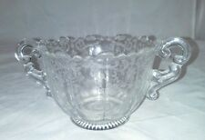 Chantilly Cambridge Ribbed Footed Open Sugar Bowl Etched USA Vintage Clear 3625