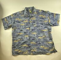 Cabela's Fish Sz 3XL Tall Blue S/S 100% Cotton Button Shirt