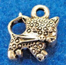 50Pcs. WHOLESALE Tibetan Silver 3D KITTY CAT Charms Pendants Earring Drops Q1304