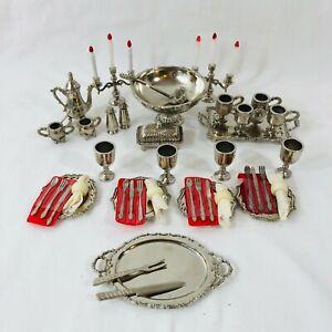 Vintage Imperial Dollhouse Dishes Miniature Metal Tea Tray Flatware Candelabra