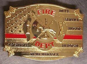 Pewter Belt Buckle Fire Fighter Fireman Red Lives Matter NEW