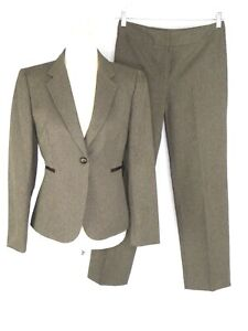 Tahari Arthur S. Levine Petite Women's Pant Suit US 6P Brown Houndstooth 1-Btn