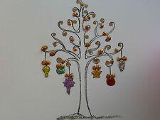 1 Handmade Bauble Tree Glitter  Christmas Card  matching Christmas gift tags