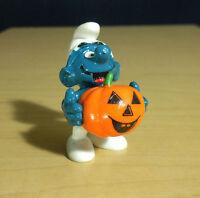 Smurfs 20136 Pumpkin Smurf Halloween Figure PVC Toy Vintage 1981 Peyo Figurine
