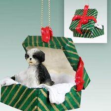 SHIH TZU Black White Sport Cut Dog Green Gift Box Christmas Holiday ORNAMENT