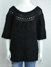 Fever New Black Cable Knit Scoop Pullover Sweater MSRP $88 Size XL