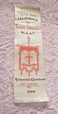 ANTIQUE  RIBBON KNIGHTS TEMPLAR MASONIC ORDER STOCKTON CAL NO.8 ST LOUIS 1886