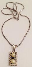 collier vintage rodié argenté pendentif perle saphir blanc / bleu 4021
