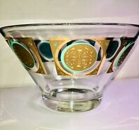 VTG 60'S MCM PASINSKI GOLD&BLUE GREEN ATOMIC MEDALLION PUNCH SERVING GLASS BOWL